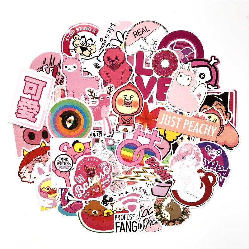 50 Uds. Pegatinas bonitas de dibujos animados de chica rosa, pegatinas de moda geniales, equipaje de Skateboar para ordenador portátil, pegatina resistente al agua para muebles de guitarra