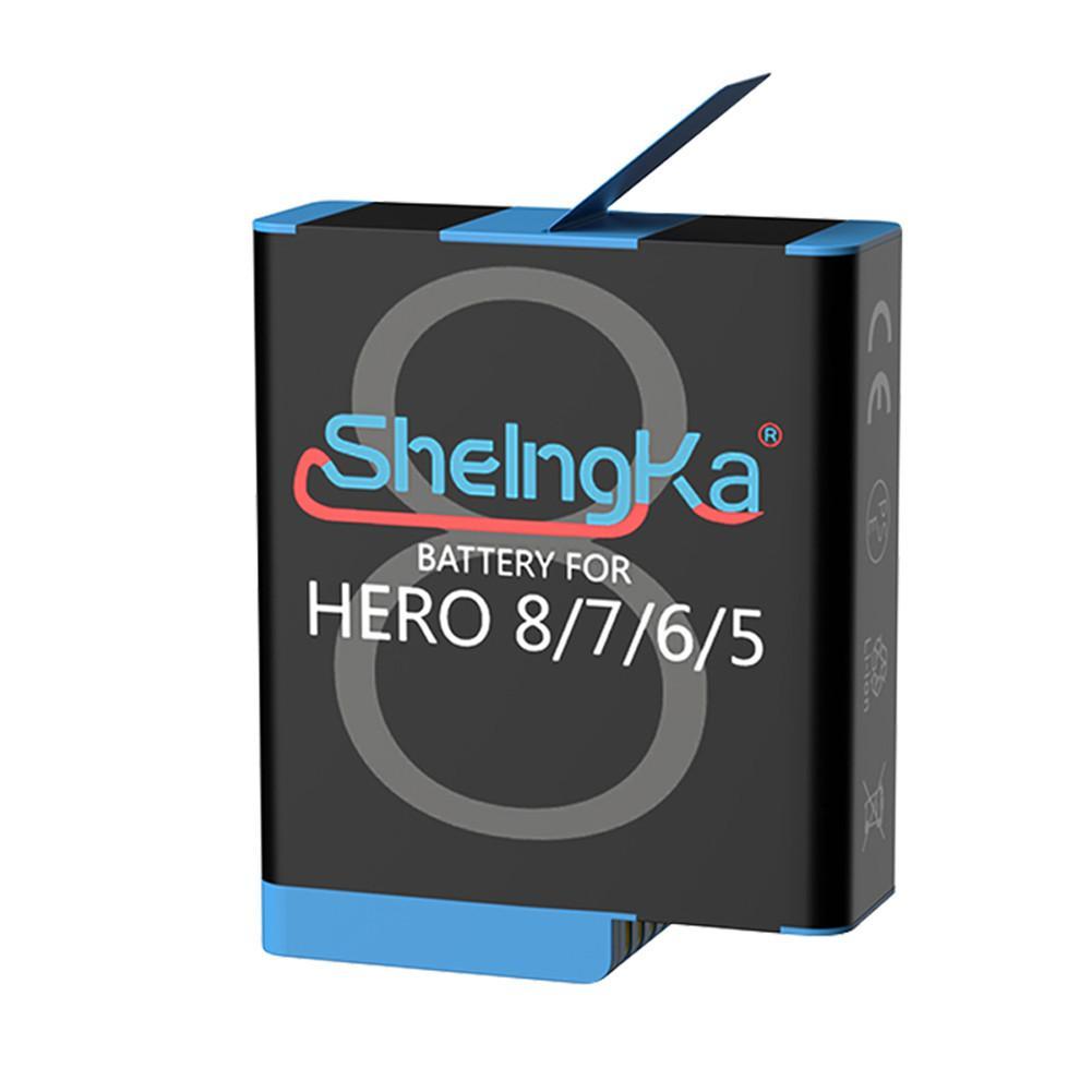 1 pc original sheingka 1220 mah bateria de grande capacidade esportes baterias substituição da câmera para gopro hero 8 7 6 5 acessórios