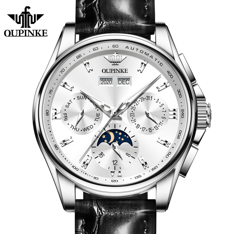 2021 New Products OUPINKE Men's Mechanical Watch Moon Phase Sapphire Multifunctional Automatic Watch