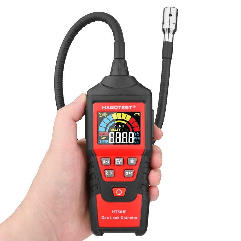 Detector de fugas de Gas portátil HT601, Mini Detector de Gas combustible, Detector de Gas peligroso, pantalla LCD, Manual, cero
