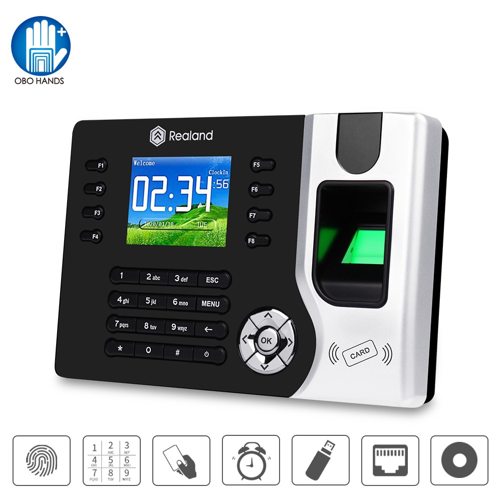 Realand Biometric TCP/IP Fingerprint Time Attendance Machine RFID Employee Check-in Recorder USB for Office Free Software DC12V