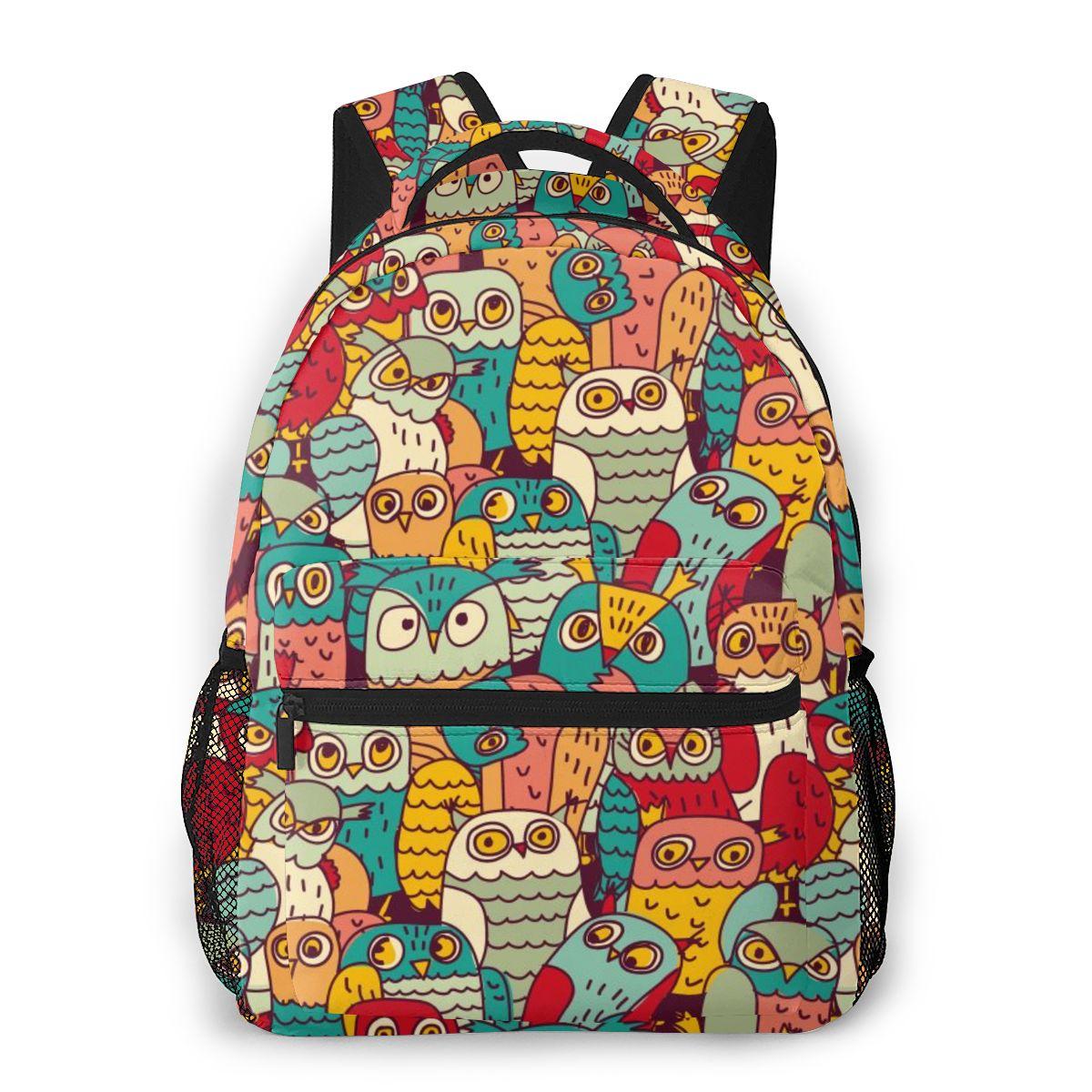 OLN sac à dos femmes sac à bandoulière pour adolescentes drôle hiboux groupe couleur sans couture motif sac à dos femme dames école sac à dos