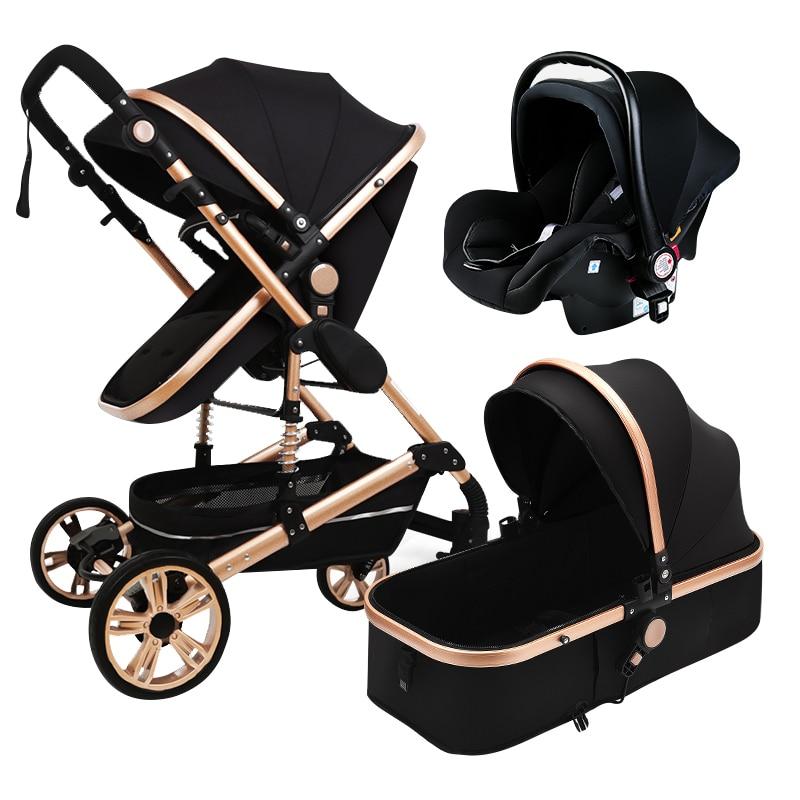 Baby Stroller 3 in 1 Luxurious Portable Travel Baby Carriage Folding Prams Aluminum Frame High Landscape Stroller Newborn Cart