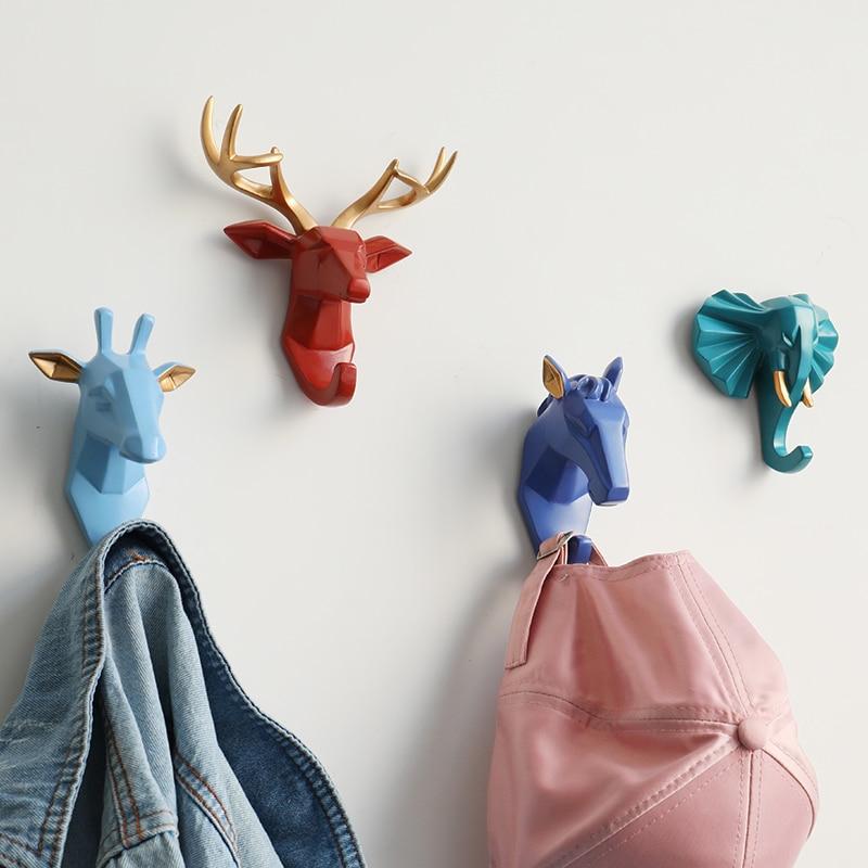 Наклейка на голову с животными из смолы, Настенная декоративная вешалка для одежды, для дверей, кухни, сумки, крючки для пальто, держатель дл...
