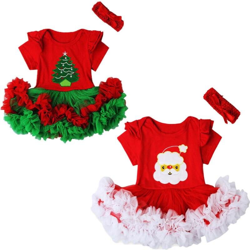 PUDCOCO/Рождественский комплект из 2 предметов для малышей, платье-пачка для новорожденных девочек + повязка на голову, праздничный костюм Рождественский комплект с короткими рукавами