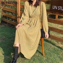 BGTEEVER Casual Green Floral Print Women Dress V-neck Full Sleeve Elastic Waist Female Dress 2020 Spring Summer Vestidos femme