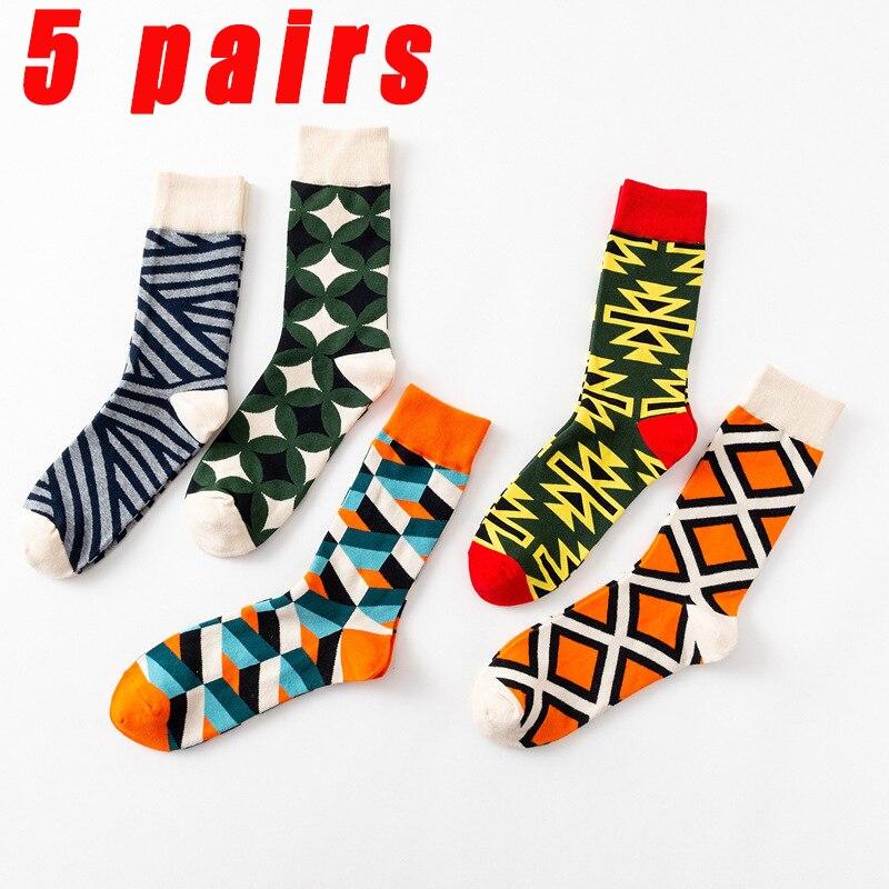 Мужские носки Новый трансграничной модные мужские носки персональный красочная Геометрия мужские носки без пятки, носки для мальчиков, 5 па...