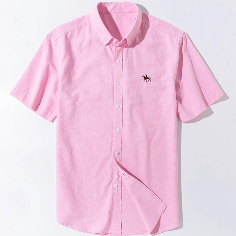 New 6XL100% Cotton Mens Oxford Shirts Short Sleeve Soft Comfortable Regular Fit Summer Business Camisa Social Men Casual
