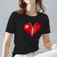 womens t shirt fashion love pattern printing series womens tops black all match commuter womens short sleeve womens clothing
