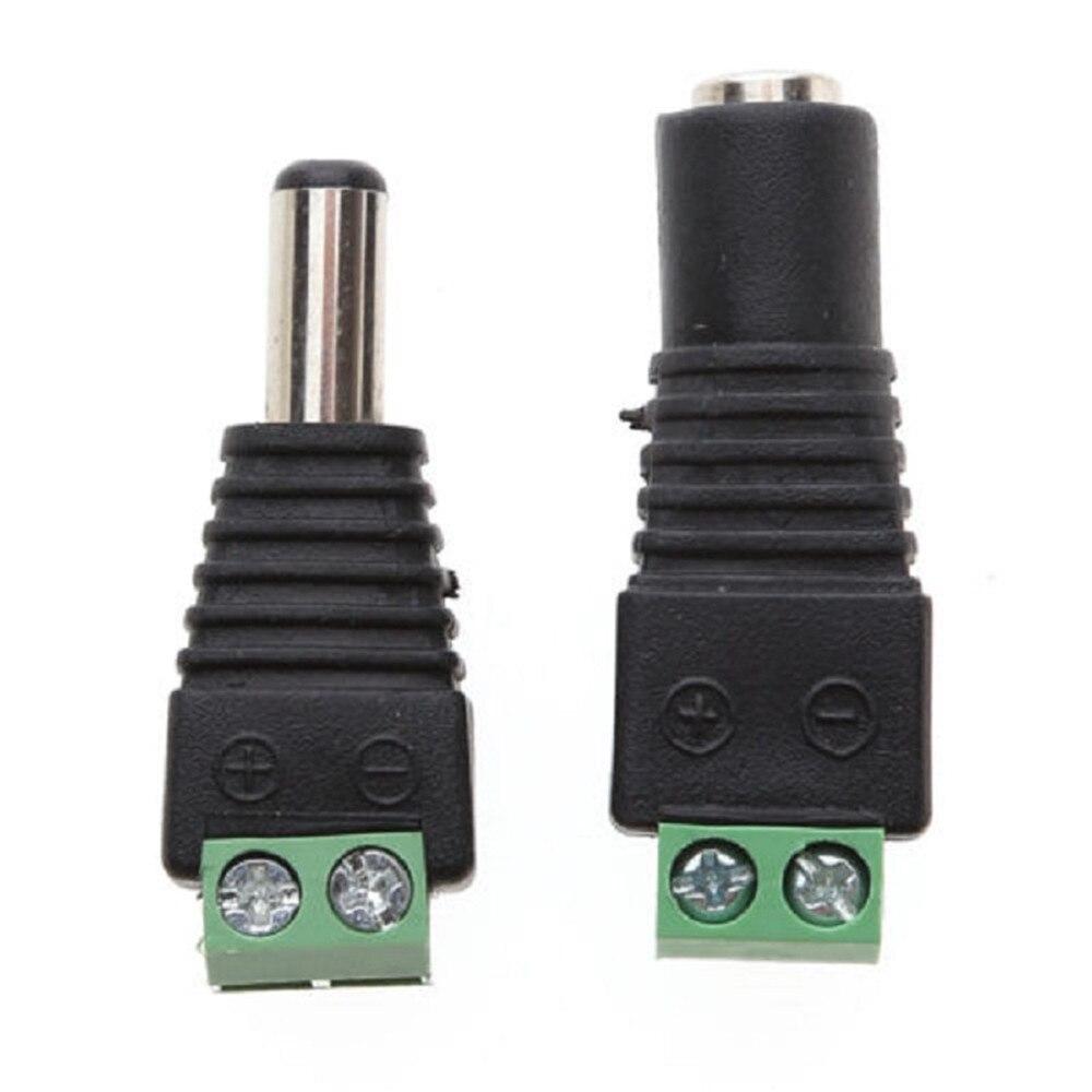 5 pares 5 x macho + 5 x hembra 2,1mm x 5,5 DC Cable de alimentación adaptador conector Conector Led tira CCTV Cámara uso 12V 10 Uds DC Plug