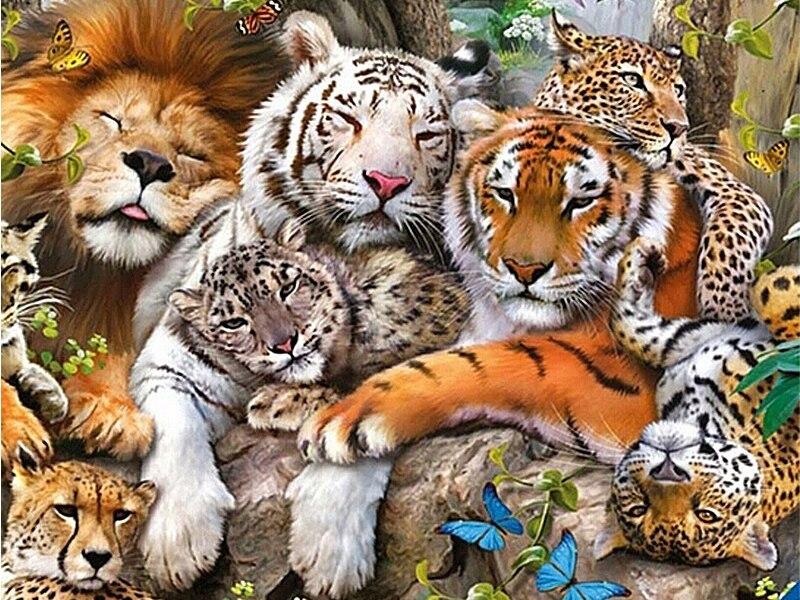 "5d completo diy daimond pintura ponto cruz ""tigre & leão & leopardo"" 3d diamante pintura completa strass pinturas bordado animal"