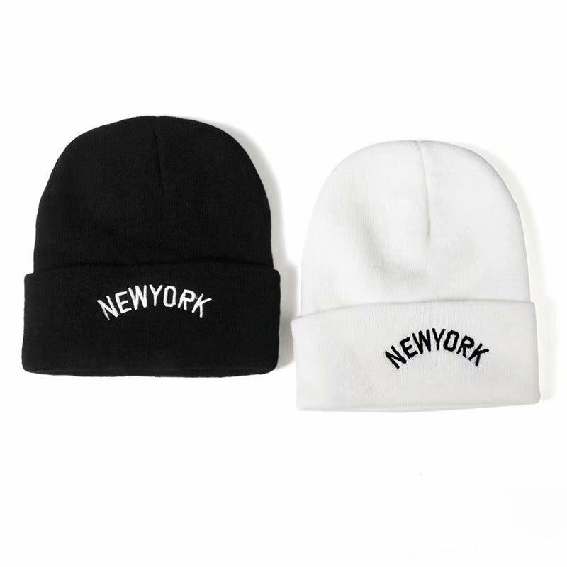 Трикотажные зимние теплые шапки с надписью «Нью-Йорк»