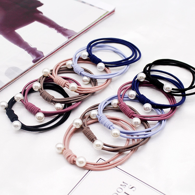 12pcs/pack Wholesale Dropship Kids Girl Hairbands Pearl Beading Elastic Hair Rope Rubber Strap For Women Casual Rubber Band