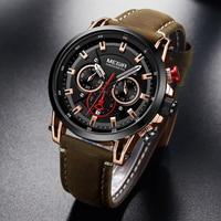 Мужские спортивные часы MEGIR, роскошные брендовые кварцевые часы с кожаным ремешком, водонепроницаемые армейские военные наручные часы, Relogio...
