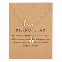 trendy alloy moon star pendant necklace with cardboard for women luck cute elegant pearl butterfly star necklace jewelty