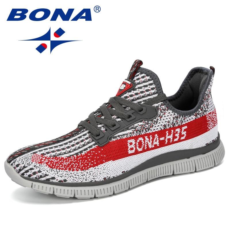 Bona 2019 novo verão chaussure homme ao ar livre homens correndo sapatos de malha tênis homem esporte sapatos caminhada masculino confortável sapato