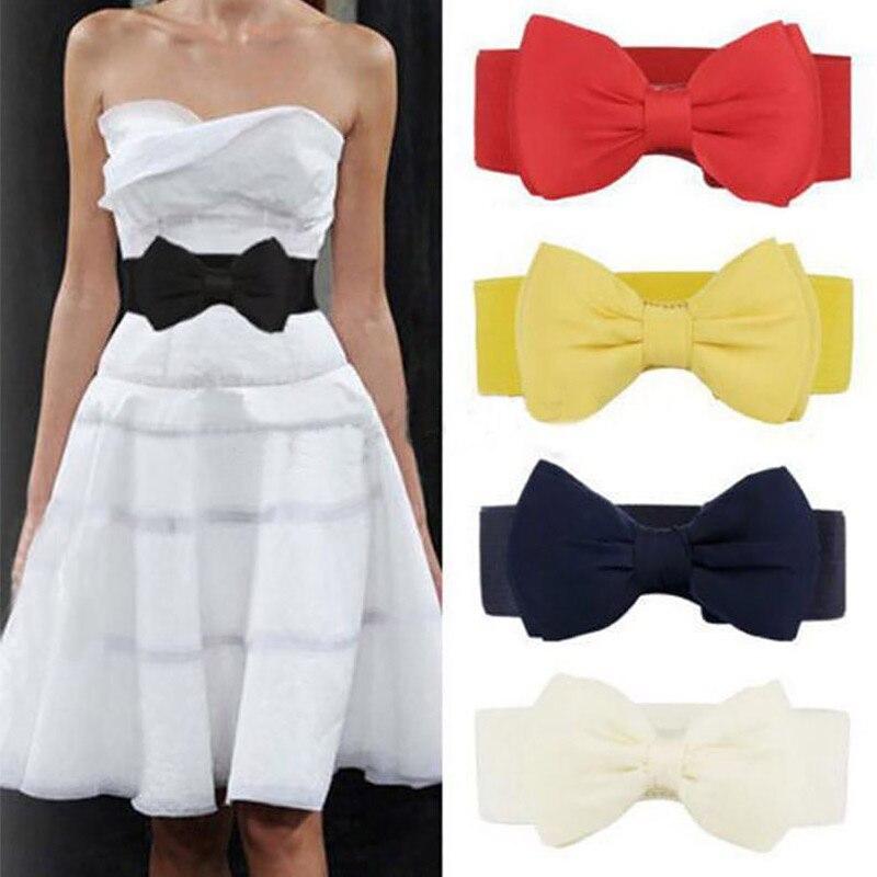 Nova mulher bowknot cummerbunds elástico arco largo estiramento bukle cintura cinto 12 cores ceinture femme cinturones mujer