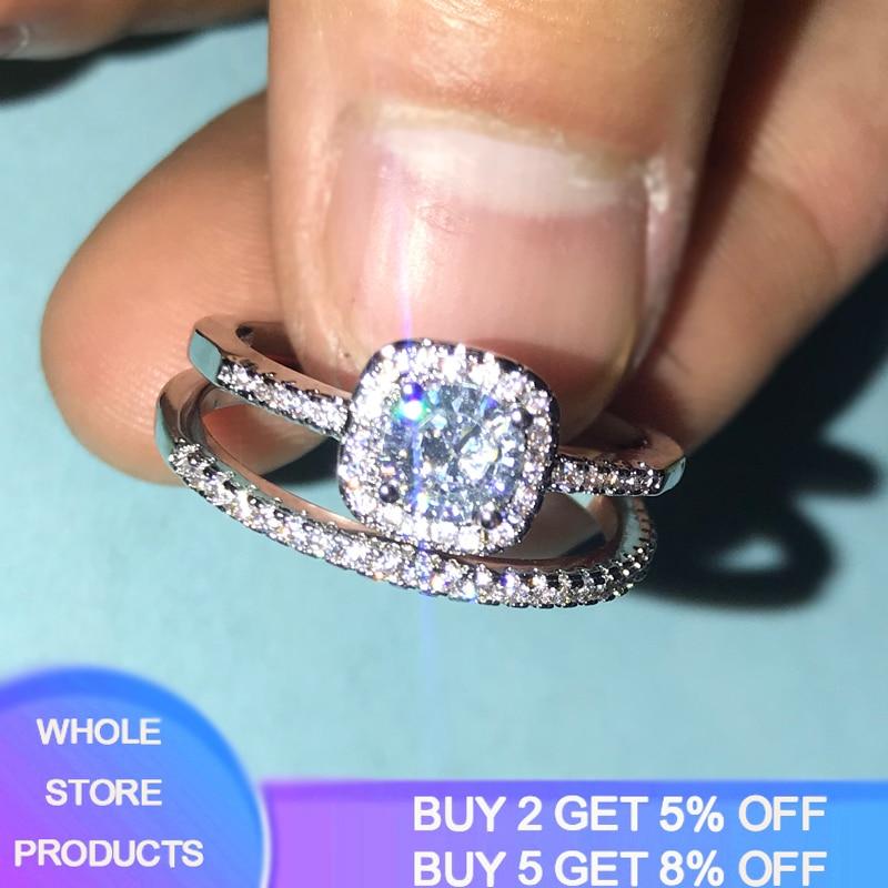 YANHUI juego de anillos de plata 925 Zirconia cúbica redonda 2 en 1 conjunto de bandas de boda para mujeres apilable joyería anillos de plata 925 RA0812