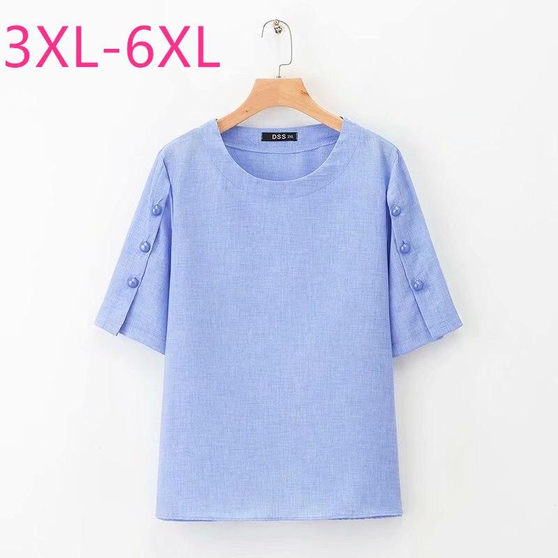 2020 nouveau été grande taille hauts pour femmes grande ample décontracté manches courtes bouton O cou chemise rouge bleu marine 3XL 4XL 5XL 6XL