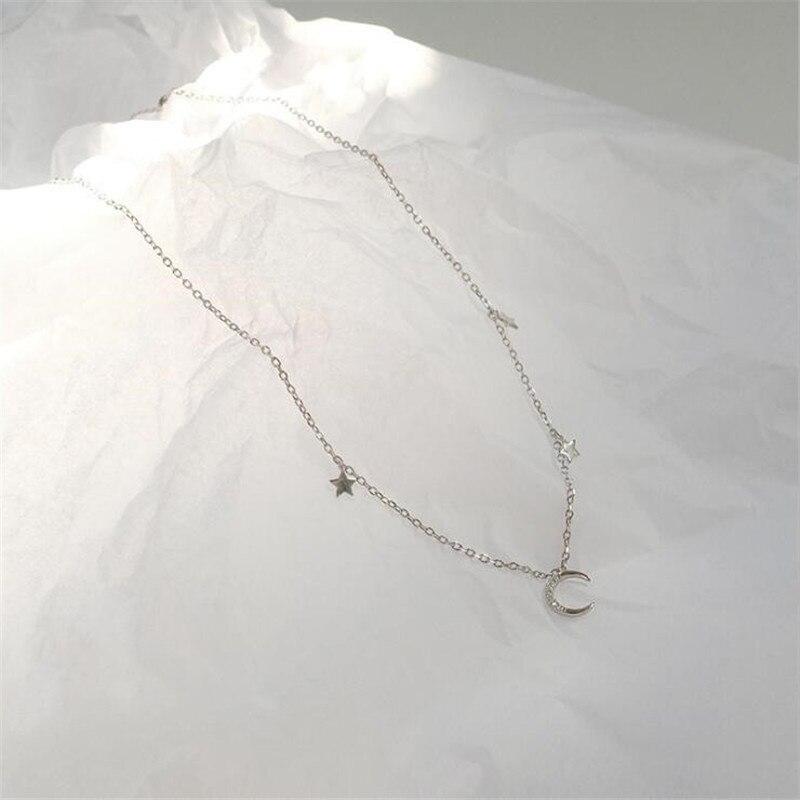 Тенденции Романтический с изображением луны и звезд, циркон ключица цепочка ожерелье для женщин красивые женские 925 стерлингового серебра ...