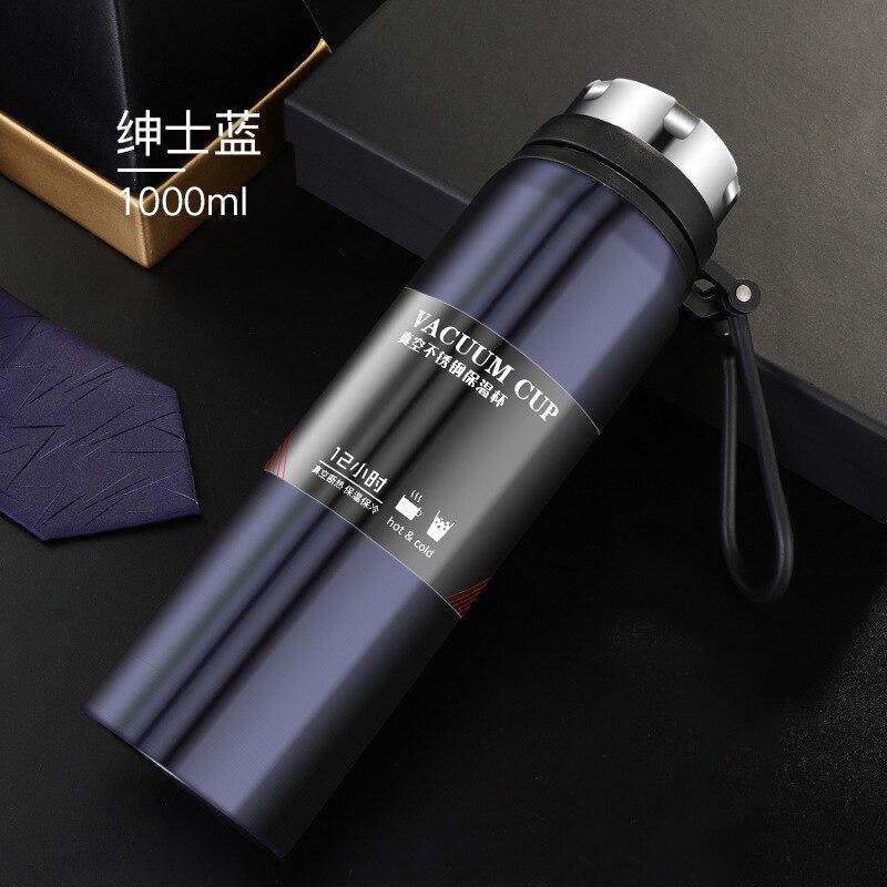 1000/800 مللي زجاجة رياضية سعة كبيرة مزدوجة ترمس من الفولاذ المقاوم للصدأ السفر في الهواء الطلق المحمولة مانعة للتسرب سيارة ترموس تفريغ