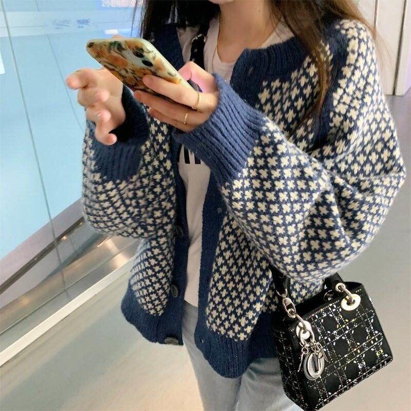 المرأة الملابس سترة سترة الخريف والشتاء xiaoxyangfeng سترة مشغولة من الصوف معطف سترة