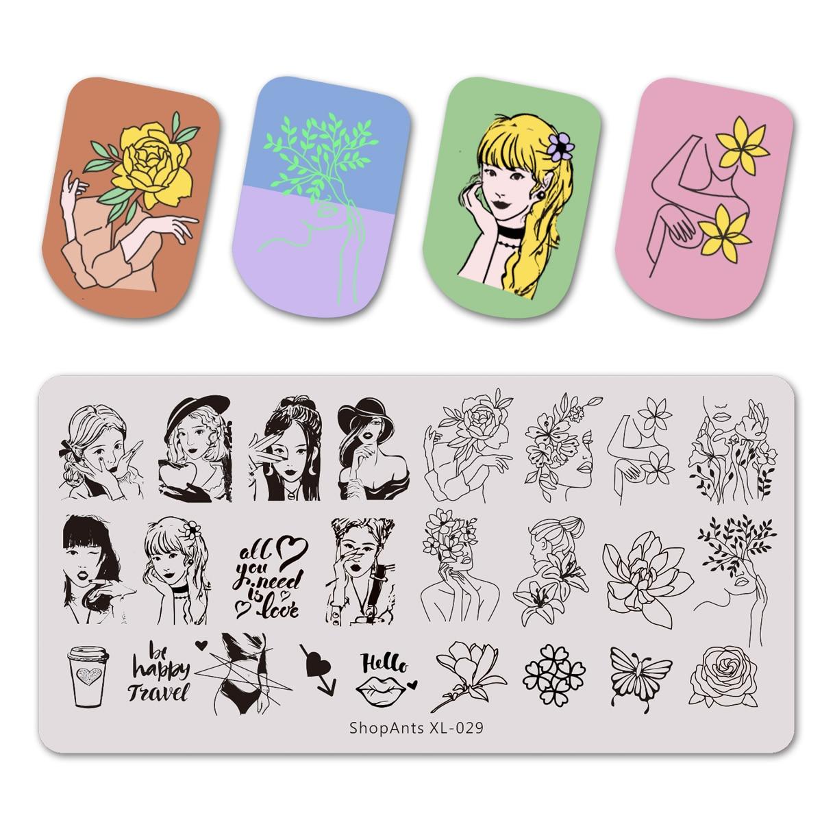 Placas de estampado de acero inoxidable, chica hermosa y flor mujeres mariposa Plantilla de imagen Nail Art Plantilla de molde de sello