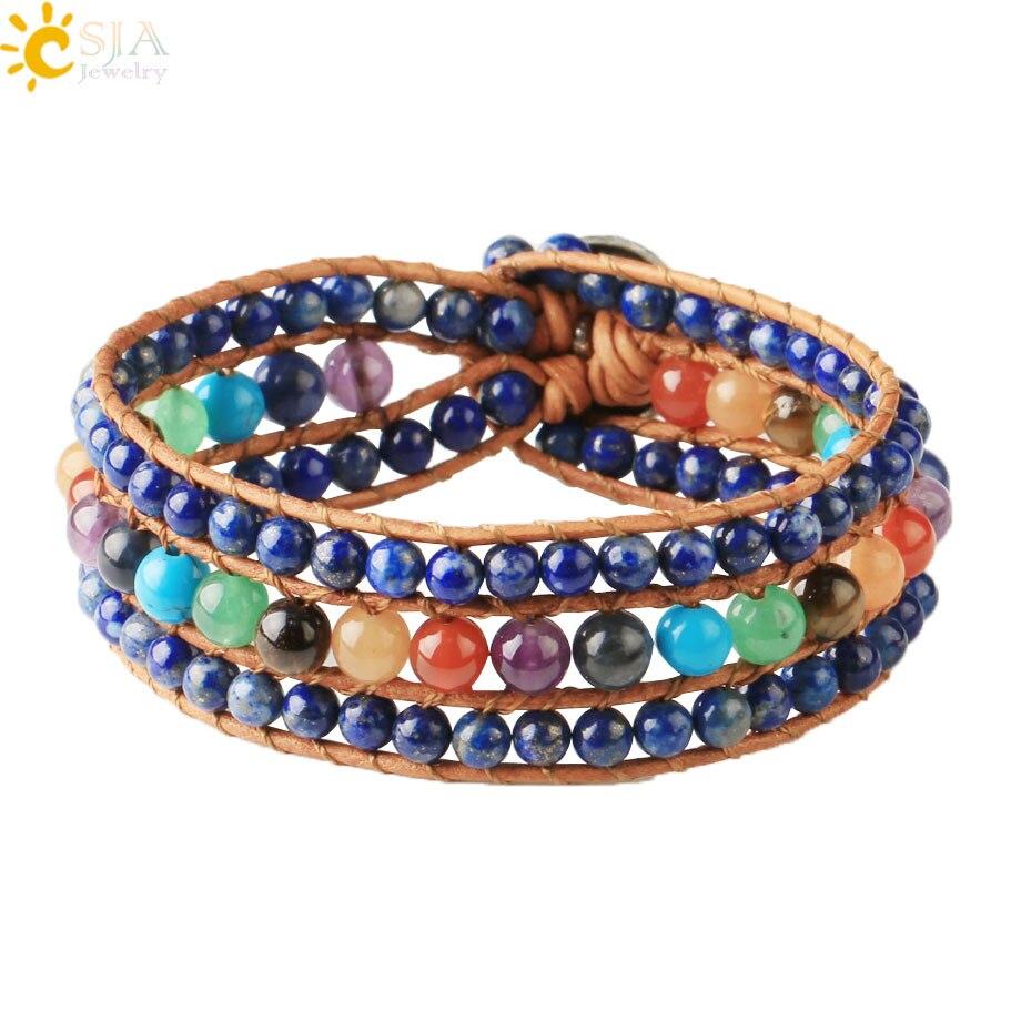 Csja 7 chakra pulseira cura equilíbrio contas pedra natural verde aventurine roxo cristal couro wrap pulseiras jóias s639