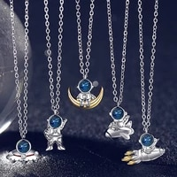 alien rocket space explorer choker necklace for women universe astronaut pendant necklace collar chain female jewelry bijoux
