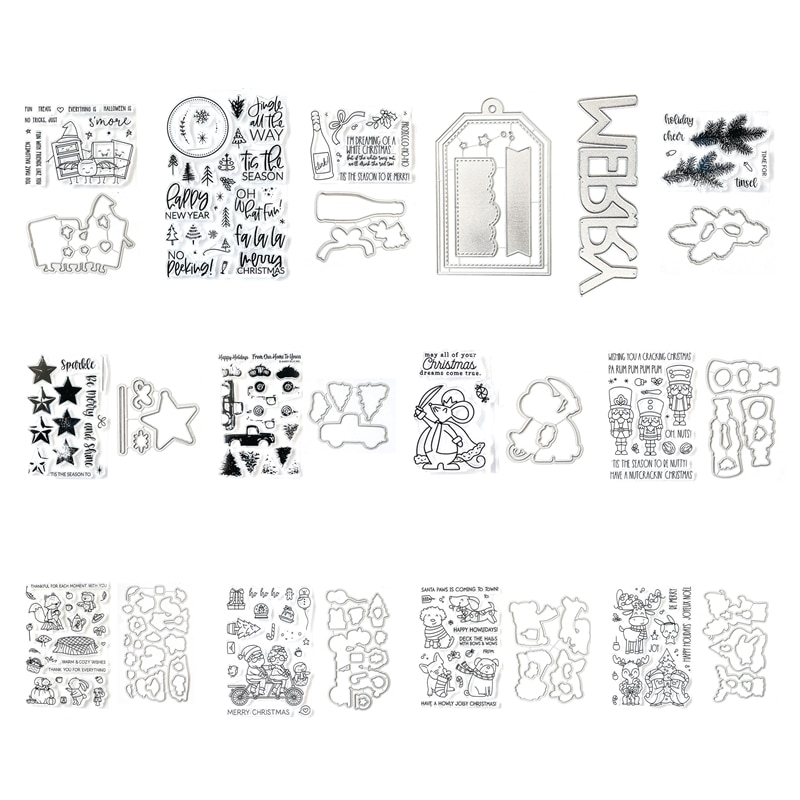 Christmas Halloween Metal Cutting Dies and Clear Stamps for New 2021 Paper Making Scrapbooking Embossing Frame Card Set