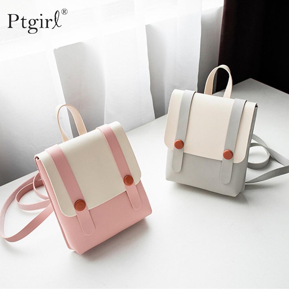 Las mujeres Bolso pequeño bolso Mochila de cuero de la PU Mini viaje de la Universidad bolsos de hombro escolares Ptgirl mini mochila рюкзак для девочки