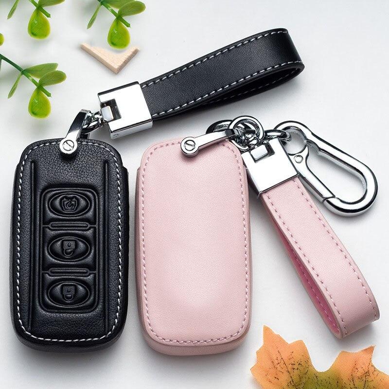 Couro caso chave do carro capa fob para dongfeng 580 f507 dobrável remoto escudo da chave do carro estilo acessórios anel