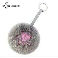 fluffy fur pom pom keychains new plush embroidery bears paw key ring pendant car keyring pompom key chains female bag pendant