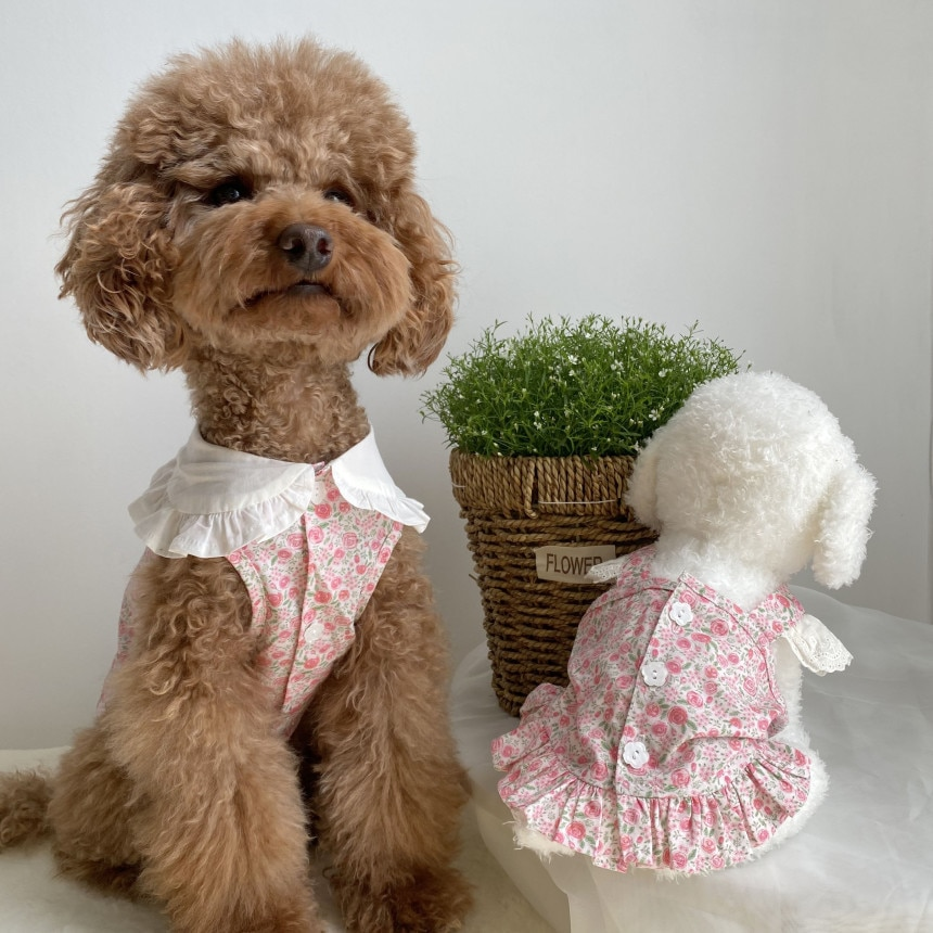 Floral Summer Dress With Neckwear for Dog Pets Clothes Chihuahua Wedding Dress Skirt Puppy Clothing Spring Dresses for Dogs Jean