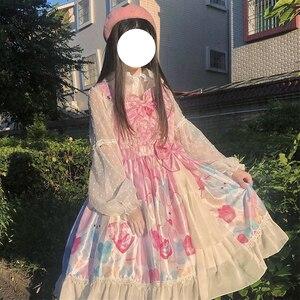 Origional Japanese Lolita Lollipop Doll Sweet Bow JSK Strap Ruffle Dress Female Autumn kawaii clothing sweet lolita dress loli