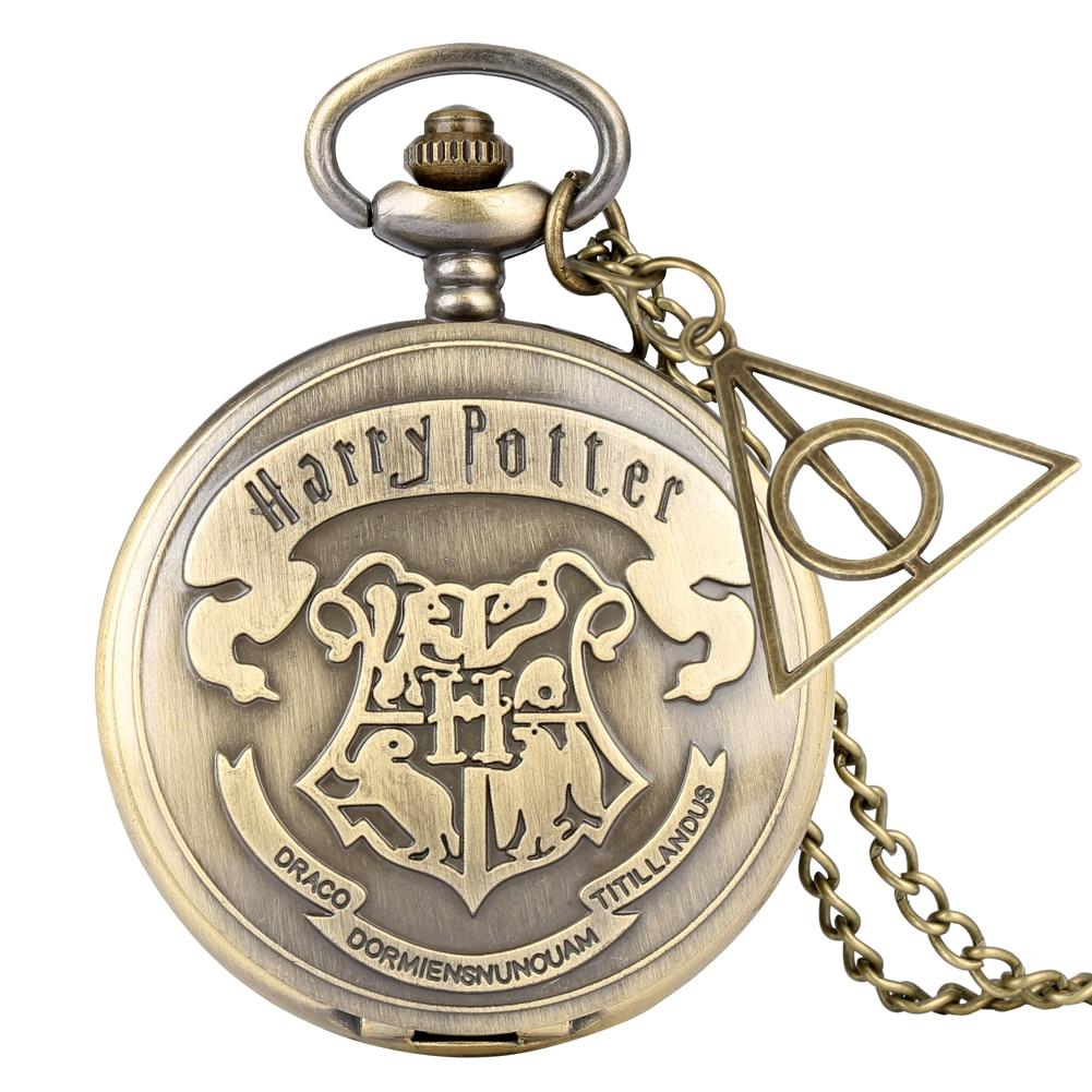 Retro bronzové hodinky H křemenné kapesní hodinky analogový náhrdelník přívěsek řetízek pro ženy i muže