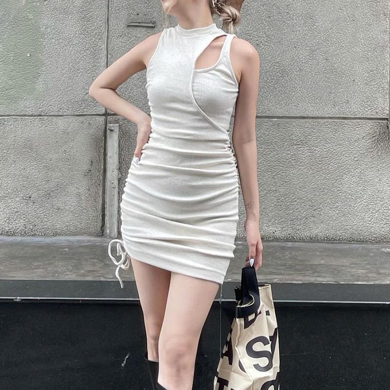Трикотажное облегающее платье с вырезами, женские туники, сексуальное мини-платье без рукавов, зимнее уличное платье феи, вечерние платья