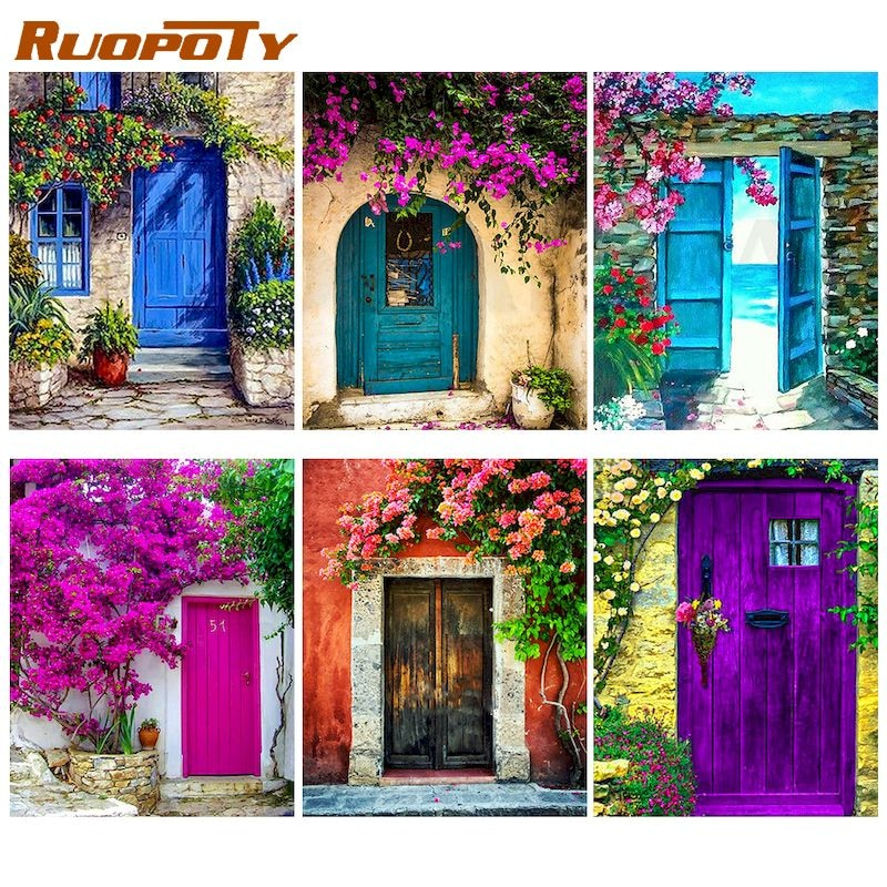 RUOPOTY DIY Painting By Number Door Drawing On Canvas Pictures Numbers Landscape Kits Home Decor Hand Painted Paintings Gift