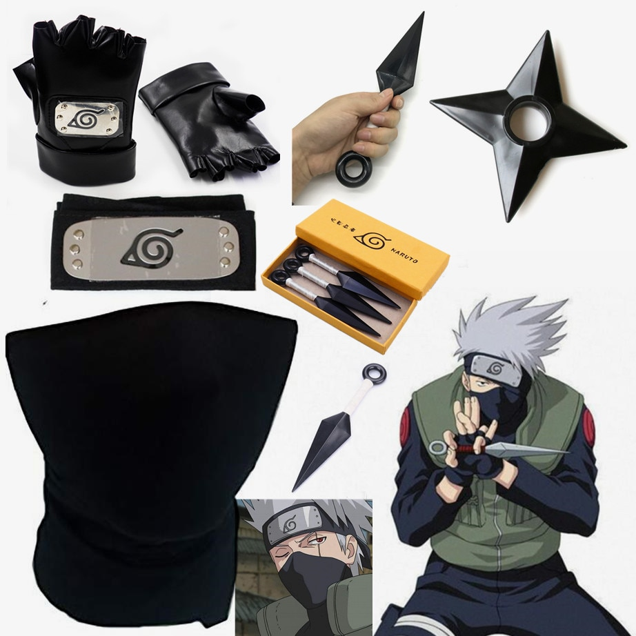 New Naruto Hatake Kakashi Konoha Headband Mask Cosplay Accessories Ninja Weapon Armor Throw Darts Ku