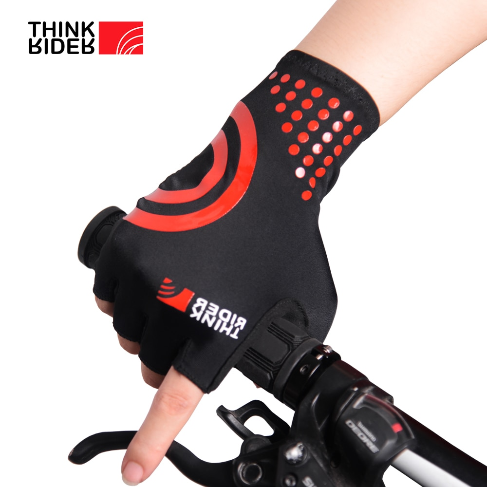 ThinkRider Cycle Half -finger Gloves Gel Sports Bicycle Race Gloves Bicycle Mtb Road Guantes Glove Cycling women Men's Mid -term