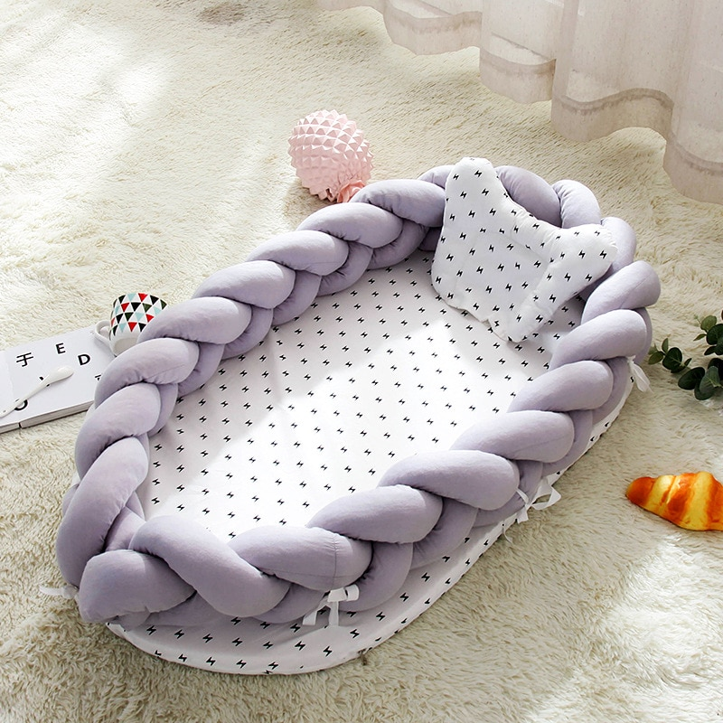 Crib Cotton Woven Folding Portable Baby Pillow Bed Bionic Removable and Washable Baby Nest Stereo Protective Baby Bed The Fence