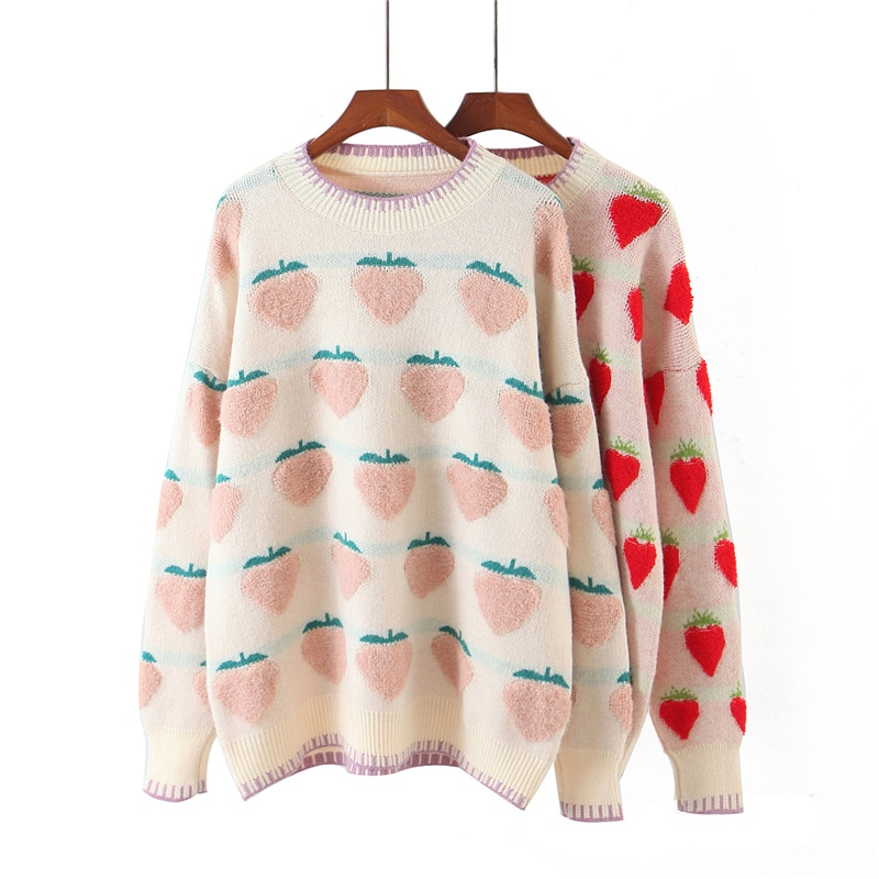 New round neck strawberry jacquard Pullover  fall clothes for women  fall clothes for women 2020 fashion sexy  Cotton  Thin