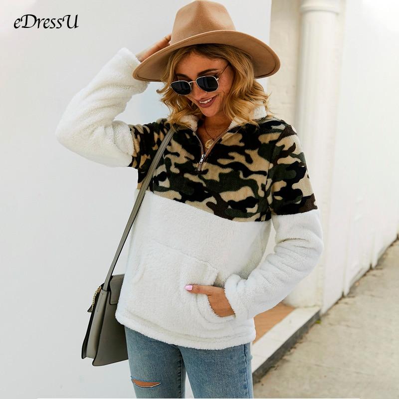 2019 chaqueta de mujer Patchwork Pullover chaqueta de leopardo camuflaje abrigo Casual blanco marrón chaqueta polar Flock prendas de vestir DY-197043