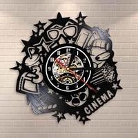 Cinema cinema maintenant montrant cinema signe horloge murale Vintage vinyle Record horloge murale Pop mais boissons 3D verre Home cinema film deco