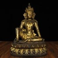 18tibet buddhism temple old bronze gilt free tara buddha statue guanyin bodhisattva double lotus seat enshrine the buddha