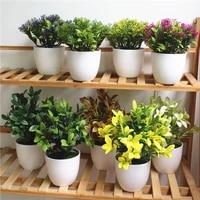 1 set artificial simulated plants milan grass bonsai plastic white flower pot new year home desk garden decoration