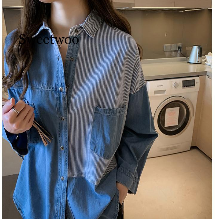 Женская рубашка, синяя блузка, одежда для женщин, топы 2020, джинсовые блузки с отложным воротником, хлопковые рубашки