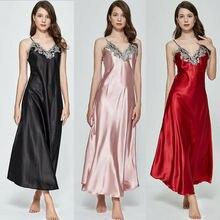Ladies Womens Satin Long Nightgowns Silk Lace Sexy Lingerie Feamle Sleeveless Deep V Nightdress Night Dress Sleepwear US