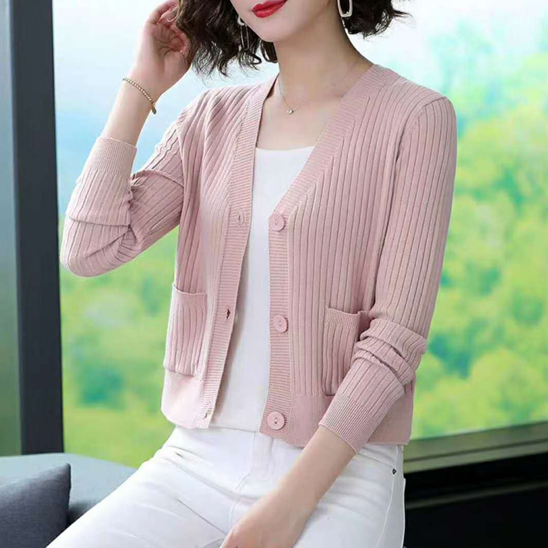 Women Knitted Cardigan Sweaters Female long Sleeve V-Neck Single Breasted Knitwear Autumn winter Solid Tops woman sweaters enlarge