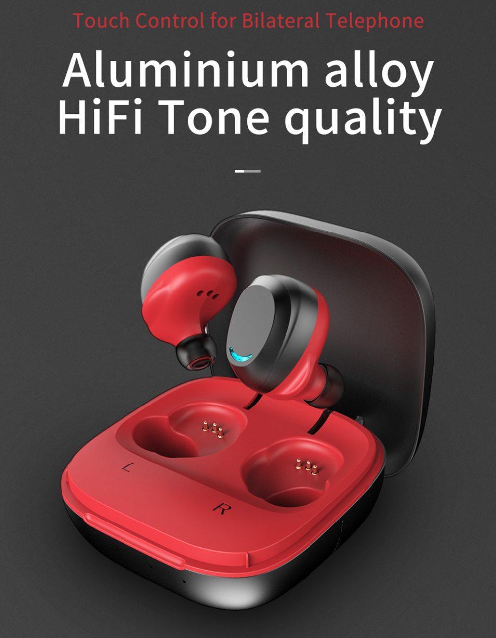 Auriculares inalámbricos Rollme T08 TWS con Bluetooth 5,0, auriculares inalámbricos de tono HiFi, cancelación de ruido, auriculares de Metal para juegos, impermeables IPX6